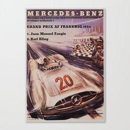 1953 Grand Prix Racing at Frankrig Advertisement Portrait Canvas Print