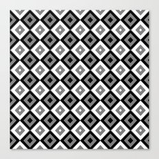 Gray White and Black Diamonds Canvas Print