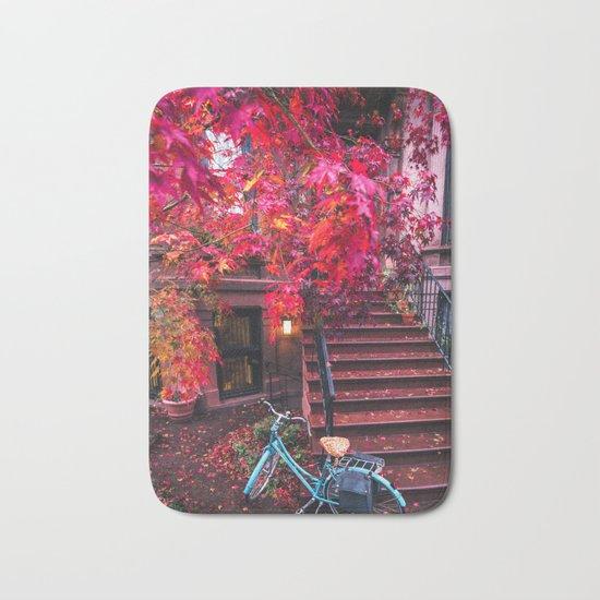 New York City Brooklyn Bicycle and Autumn Foliage Bath Mat