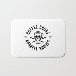 Coffee Chugs And Barbell Shrugs v2 Bath Mat