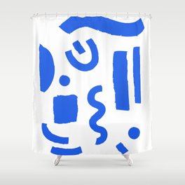 Brush Stroke Minimal 19 - Abstract Pattern Shapes Modern Mid Century Texture Blue. Gift idea Home deco Shower Curtain