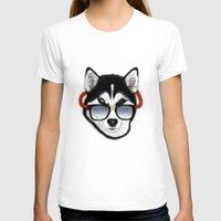husky T-shirts featuring HUSKY by Rebeca Zum