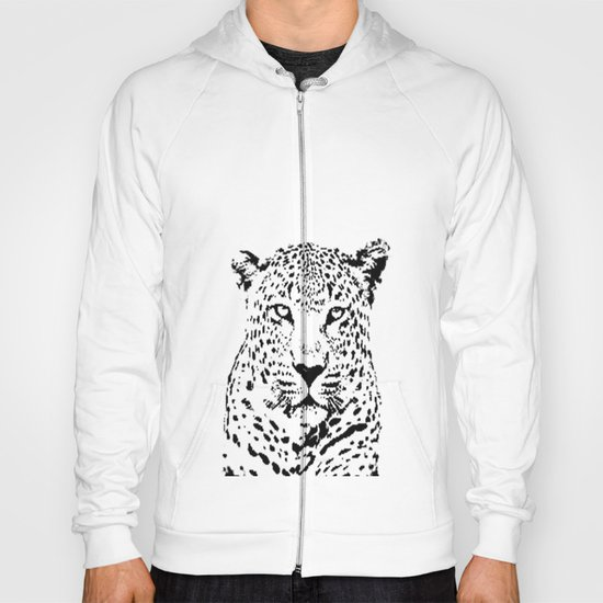 Leopard in Black and White Hoody