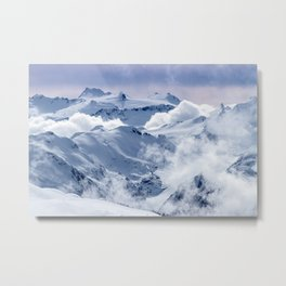 Snowy Mountains and Glaciers Metal Print