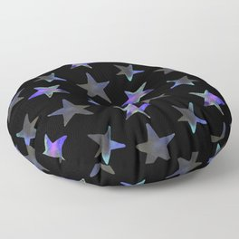 Hologram Mosaic Stars Abstract Watercolor Painting Floor Pillow