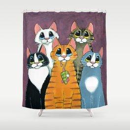 A Feline Family Portrait Shower Curtain