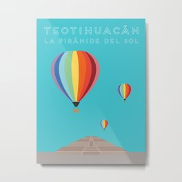 Teotihuacan, La Piramide del Sol, Mexico Travel Poster Metal Print