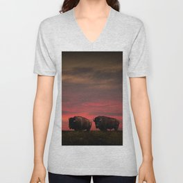 Two American Buffalo Bison at Sunset Unisex V-Neck