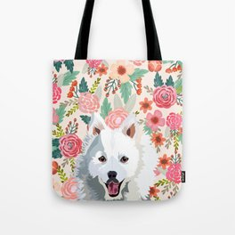 Japanese Spitz floral pet portrait wall art and gifts for dog breed lovers Tote Bag