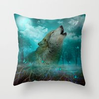 hobbes Throw Pillows featuring I'll See You In My Dreams (Cry of the Wolf) by soaring anchor designs