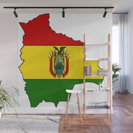 Bolivia Map with Bolivian Flag Wall Mural