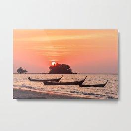 Boats moored during sunset, Nai Yang beach, Phuket, Thailand Metal Print