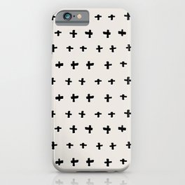 Black plus-abstract black and white pattern iPhone Case