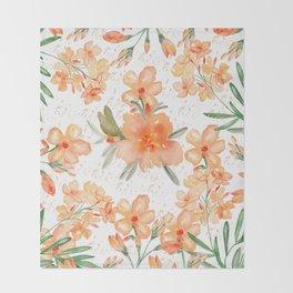 Modern hand painted orange green watercolor floral Throw Blanket