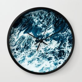 Disobedience - ocean waves painting texture Wall Clock