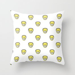 Angry Emoji Graphic Pattern Throw Pillow