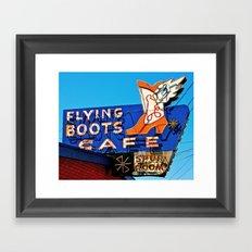 Flying Boots Cafe Framed Art Print