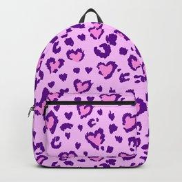 Lilac & Purple Leopard Print Hearts Backpack