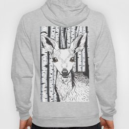Ink and watercolor black and white doe/deer in the forest Hoody