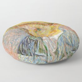 Self-Portrait with a Straw Hat - Vincent Van Gogh Floor Pillow