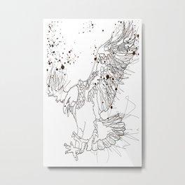 Bald Eagle Splatter Drawing Sketch Metal Print