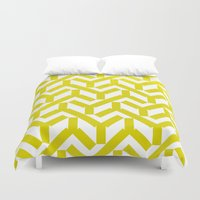 yellow pattern Duvet Covers featuring Yellow Geometry Pattern by VessDSign
