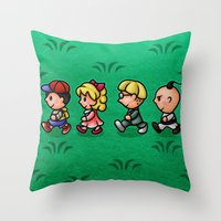 earthbound Throw Pillows featuring Earthbound Guys by likelikes