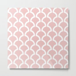 Classic Fan or Scallop Pattern 479 Dusty Rose Metal Print