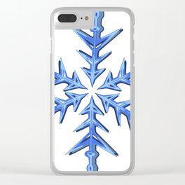 Minimalistic Ice Blue Snowflake Clear iPhone Case