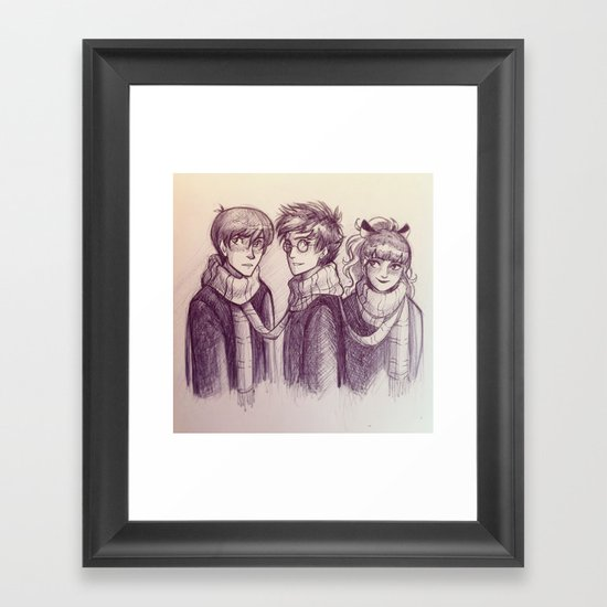 Harry, Ron & Hermione Framed Art Print