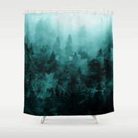 blankets Shower Curtains featuring Fractal Forest by Klara Acel