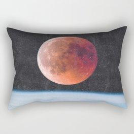 Blood Moon Over Earth Rectangular Pillow