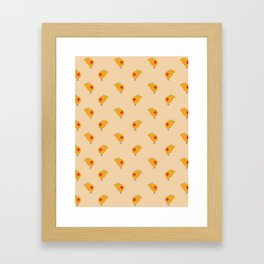Sunny Family girl hand drawn home decor and textile design kids pattern on yellow Framed Art Print