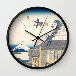 Kiki and the balloon - japanese vintage print mashup Wall Clock