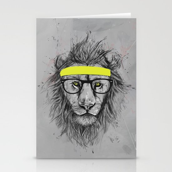 hipster lion Stationery Cards