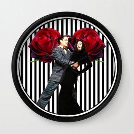 Gomez and Morticia Striped Round Wall Clock