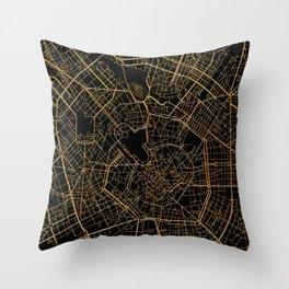 Black and gold Milan map, Italy Throw Pillow