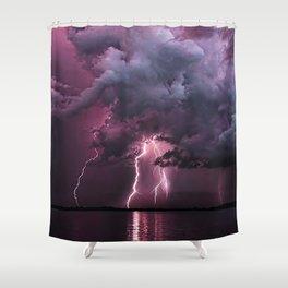 Lightening Strike in Purple Storm Shower Curtain