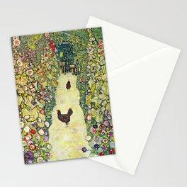"Gustav Klimt ""Garden Path with Chickens"" Stationery Cards"