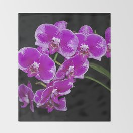 Graceful spray of deep pink orchids Throw Blanket