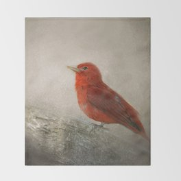 Song of the Summer Tanager 1 - Birds Throw Blanket