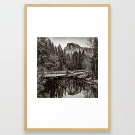 Yosemite Half Dome Mountain Landscape Reflection - Sepia Square Format Framed Art Print