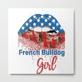 French-Bulldog Girl Pretty American Flag Sexy Biting Lip 4th Of July USA America Metal Print
