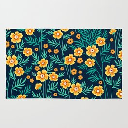 """Cute Floral pattern in the small yellow flower. """"Ditsy print"""". Rug"""