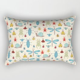 Little Bugs & Mini Beasts on Cream Rectangular Pillow