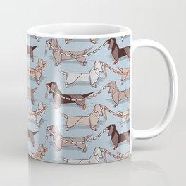 Origami Dachshunds sausage dogs // pale blue background Coffee Mug