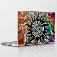 pentagram Laptop & iPad Skins featuring Supernatural by Spooky Dooky