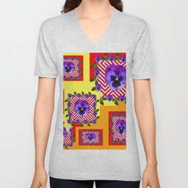 RED & PURPLE PANSIES YELLOW-ORANGE ABSTRACT Unisex V-Neck
