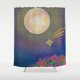 Full Moon - Scandinavian Folk Art Shower Curtain