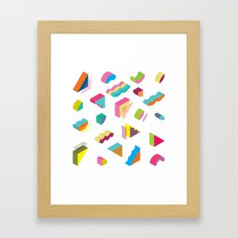 blocks isometric Color Design elements in the Memphis style Framed Art Print